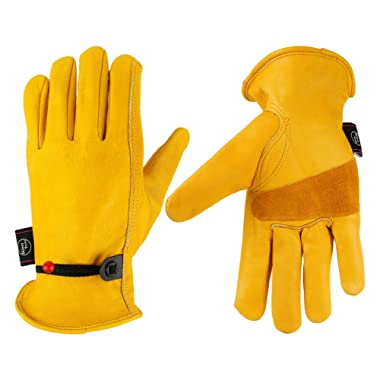 KIM YUAN Leather Work Gloves, with Adjustable Wrist, For Yard Work, Gardening, Farm, Warehouse, Construction, Motorcycle, Men & Women Medium