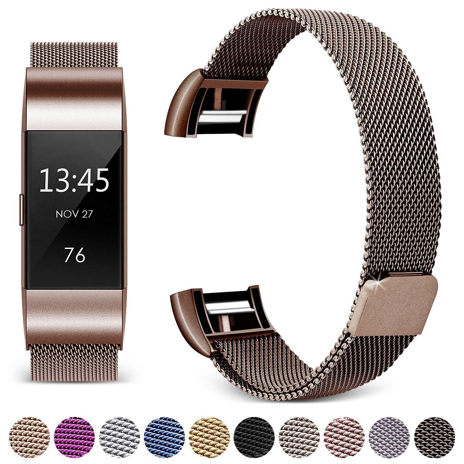 Hotodeal Band Compatible Fitbit Charge 2 Bands, Band Milanese Loop Stainless Steel Magnet Metal Replacement Bracelet Strap, Wristbands Accessories Women Men Small Large