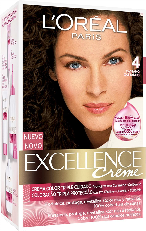LOréal Paris Excellence Creme Triple Protección Coloración, Tono: 4 Castaño - 200 g
