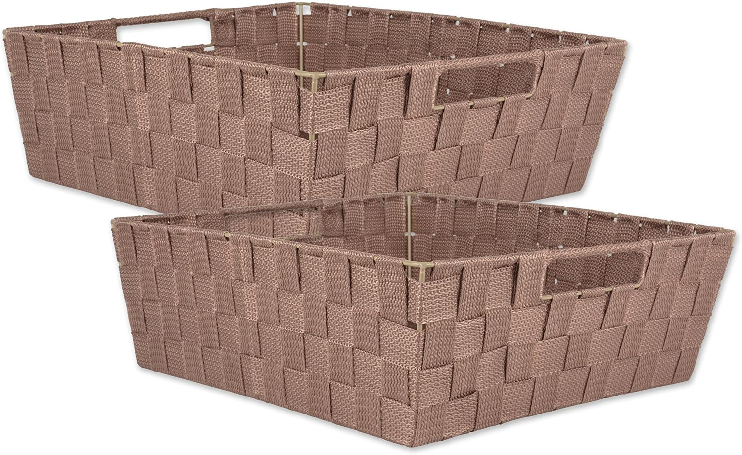 "DII Durable Trapezoid Woven Nylon Storage Bin or Basket for Organizing Your Home, Office, or Closets  (Tray - 13x15x5"") Taupe - Set of 2"