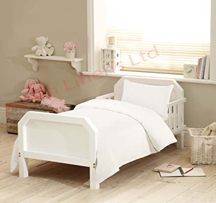 White Nursery Bedding 300 TC Junior Toddler Cot Duvet Cover With Pillowcase Bed Set