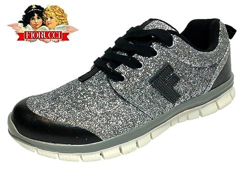 FIORUCCI Scarpe Donna Sneakers Argento Glitter Ginnastica Running - FDP4134  (39 EU) 624d55a6040