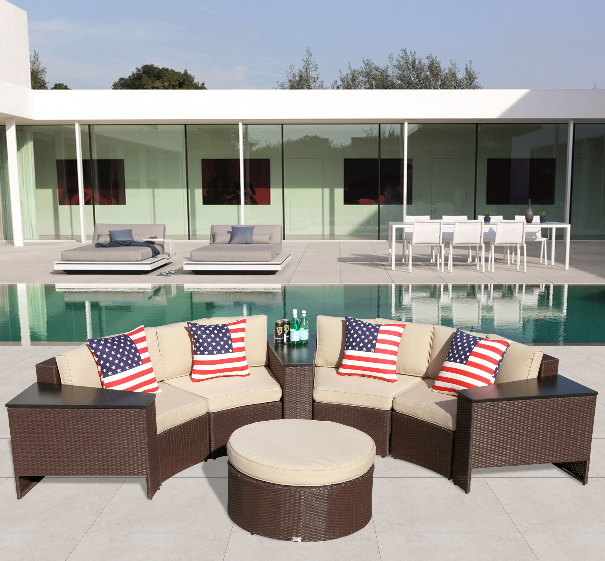 PATIOROMA Outdoor Patio Furniture Set Wicker 8 Piece Semicircular Sectional Sofa Seating Set with Ottoman, Beige Seat and Back Cushions, Aluminium Frame, Brown PE Wicker