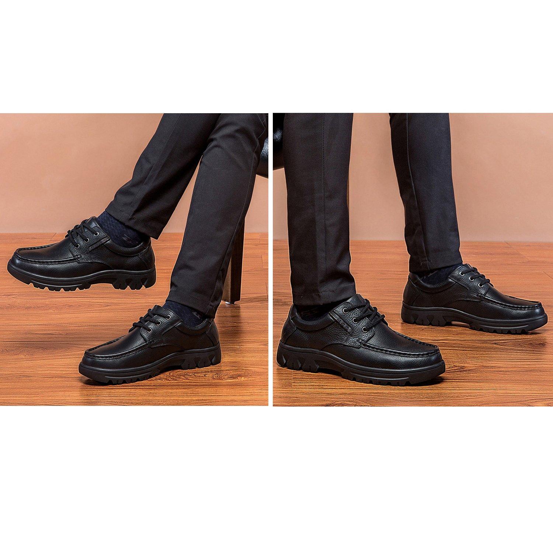 OUTVIE Herren Schnürhalbschuhe Echtes Leder Leder Leder Oxford Round Toe Low-Top Atmungsaktive Plus Größe Wohnungen Freizeitschuhe 8ff5d3
