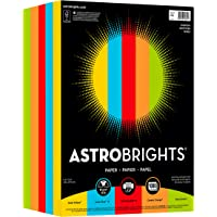 """Neenah Paper Astrobrights Color Paper, 8.5"""" x 11"""", 24 lb/89 gsm, """"Everyday"""" 5-Color Assortment, 1000 Sheets (99609)"""