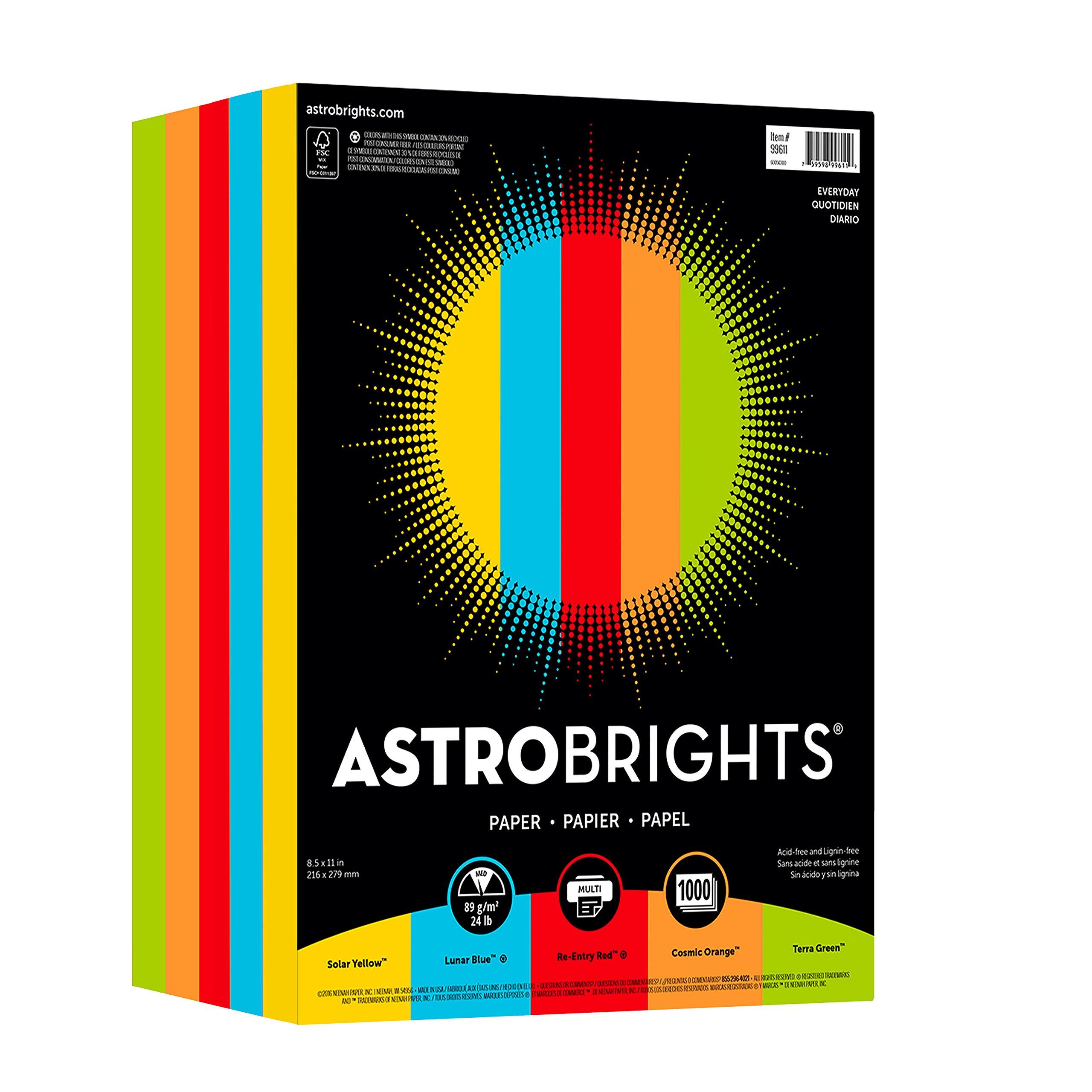 Astrobrights Color Paper, 8.5'' x 11'', 24 lb/89 gsm, ''Everyday'' 5-Color Assortment, 1000 Sheets (99609)