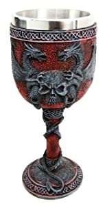 """Ebros Celtic Dual Twin Dragon Blood Guarding Skull Heraldry Crest 7""""H Wine Goblet Cup Chalice Beverage Drinks Dungeons And Dragons Medieval Renaissance Decor Kitchen Party Hosting Accessory"""