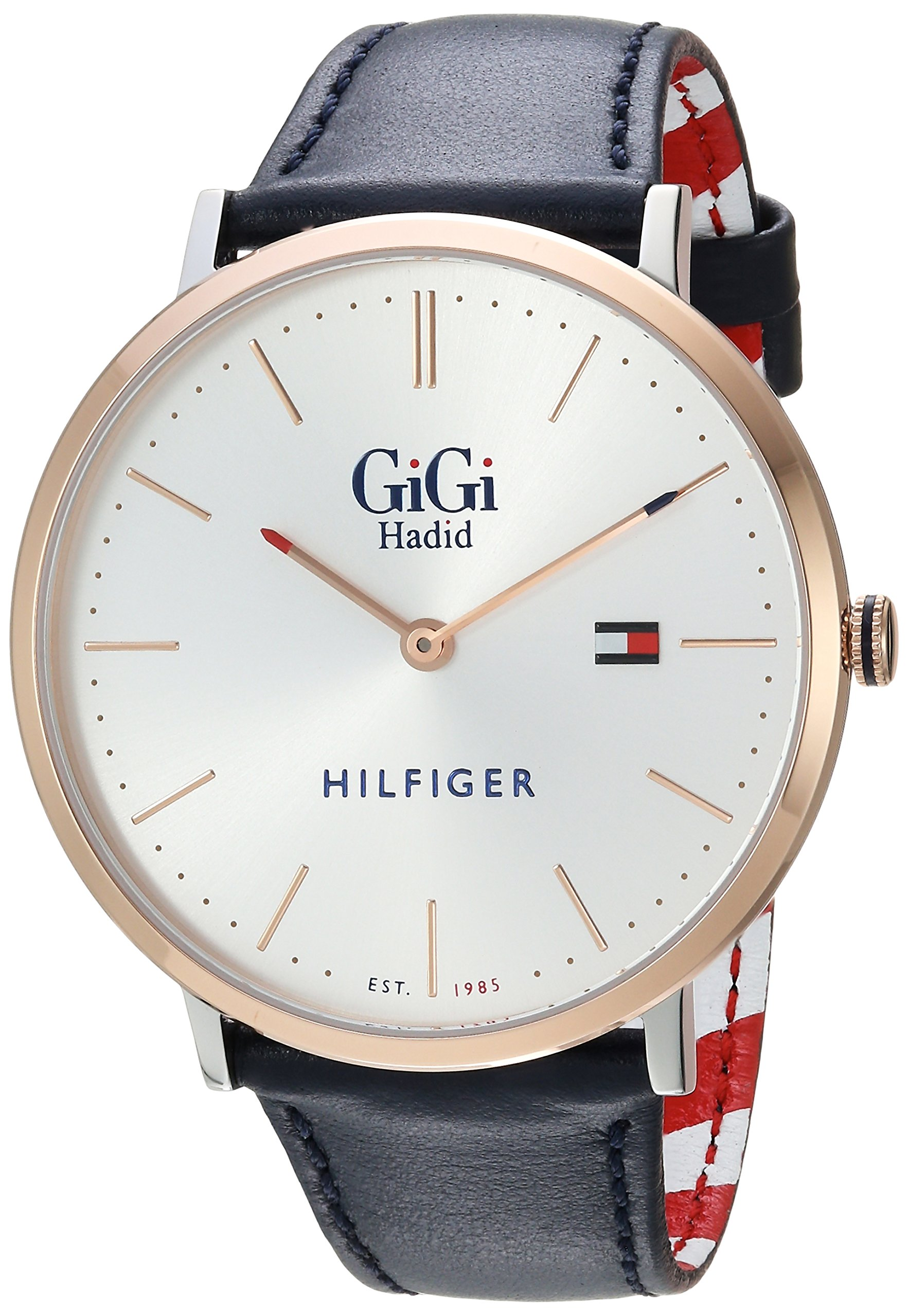 Tommy Hilfiger Women's 'GIGI' Quartz Stainless Steel and Leather Casual Watch, Color:Blue (Model: 1781748)