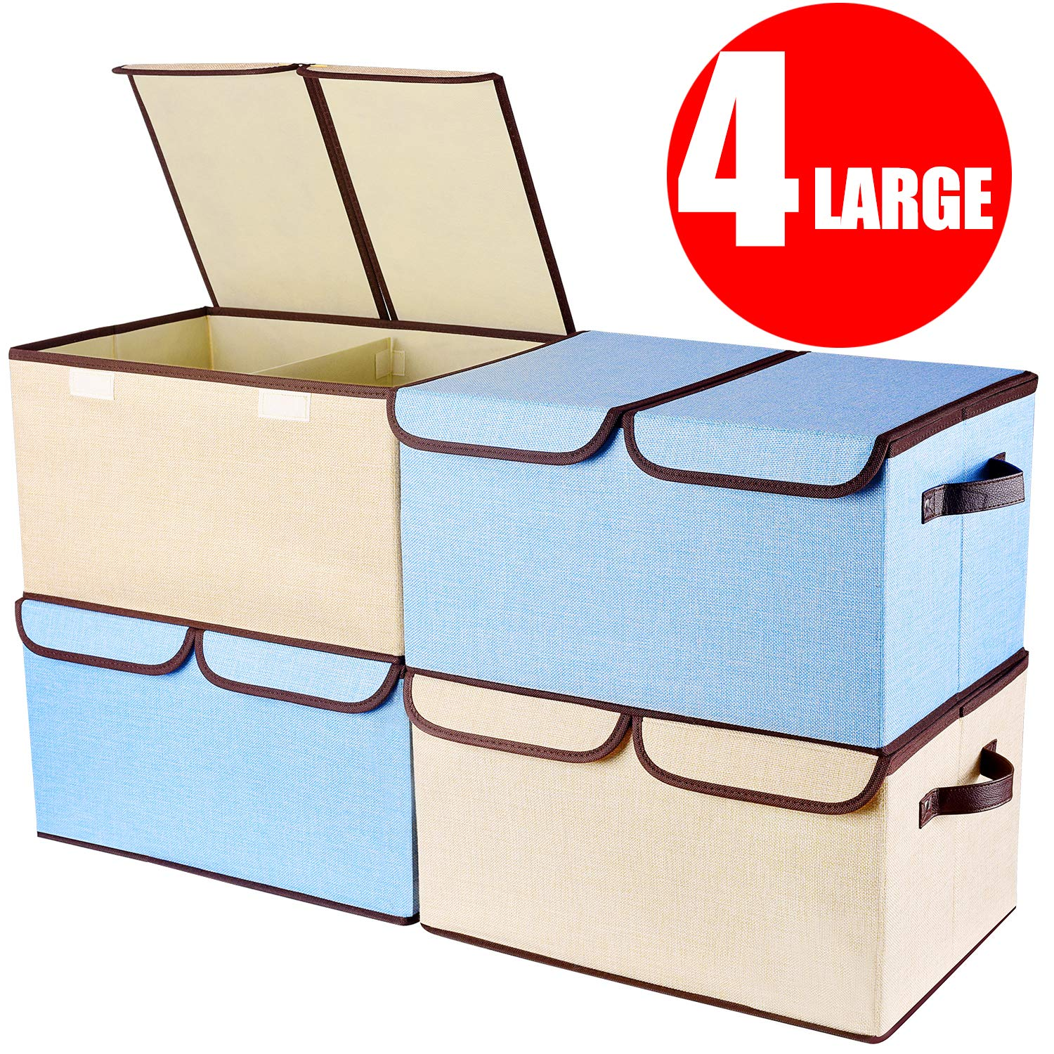senbowe Storage Bins, Set of [3-Size] Foldable Storage Cubes Box with Lids and Handles, Collapsible Storage Basket Containers Organizer with Linen Fabric for Home, Office, Nursery, Closet, Bedroom