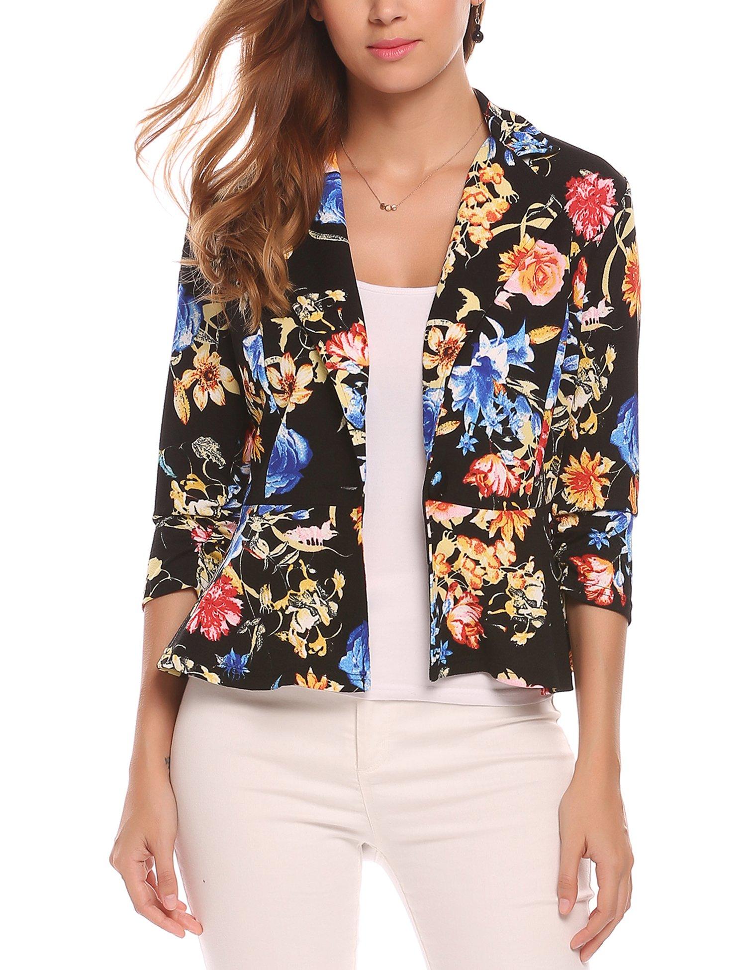 Beyove Women Notch Lapel 3/4 Sleeve Casual Work Open Front Cardigan Jacket Peplum Style Office Blazer