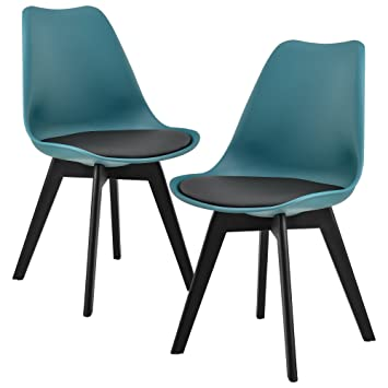 [en.casa] Set de 2 sillas de comedor (turquesa / negro)  set para comedor / salón / juego de sillas para cocina