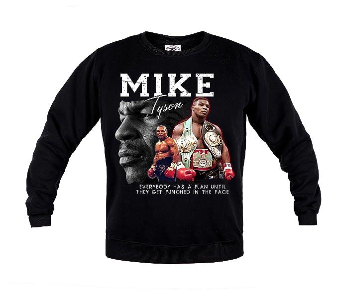 Rule Out Sudadera Micro Tyson. Boxeo Ropa Deportiva. Crewneck. Negras Informal - Negro