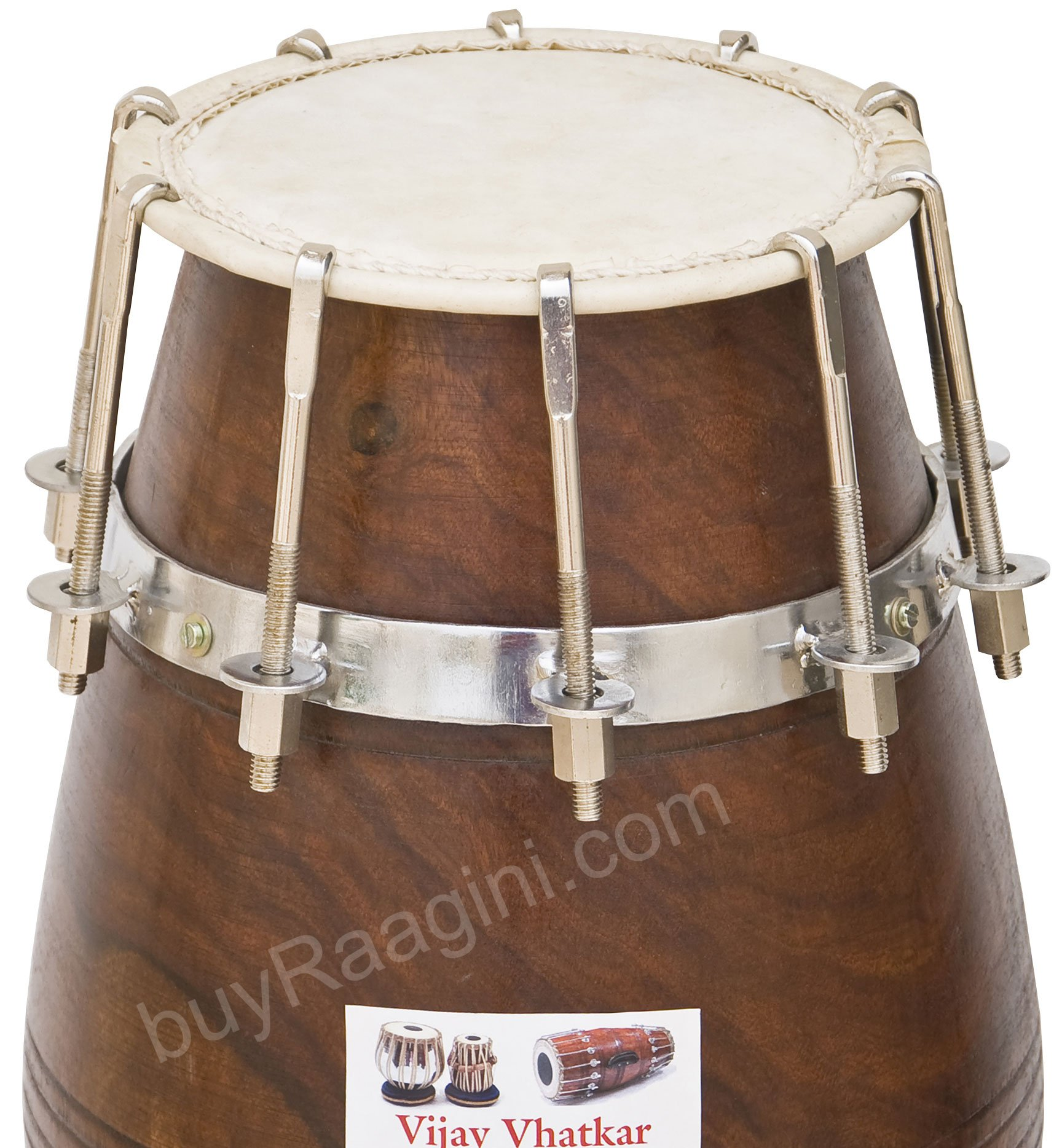 Vhatkar Dholak Drum, Sheesham Wood, Natural, Bolt Tuned, Padded Bag, Spanner, Dholki/Dholaki (PDI-DIH) by VIJAY VHATKAR for buyRaagini.com