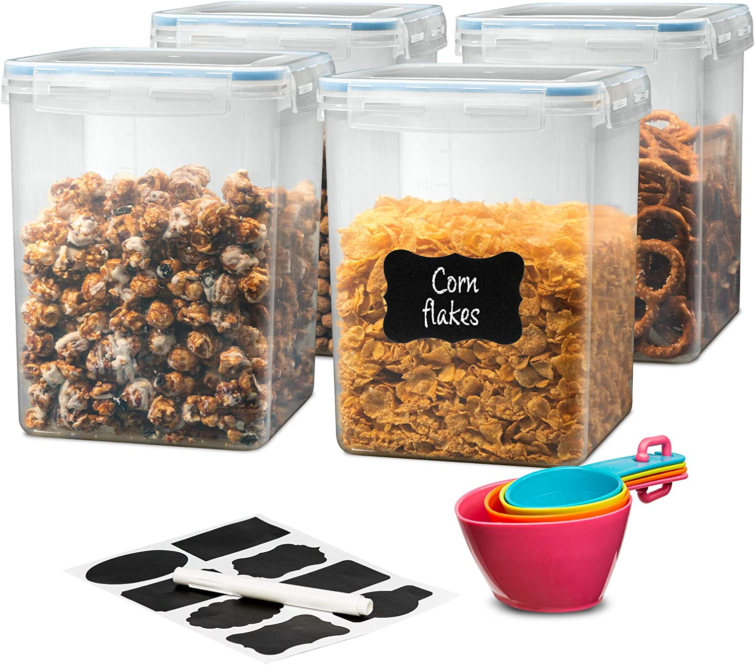 Flour Container, Pantry Organizer Set- 4 Pcs Large Airtight Food Storage Containers with Lids (175 Oz), Measuring Cups, Labels, and Marker - BPA Free Plastic, Clear Storage Bins for Flour, Rice, Sugar