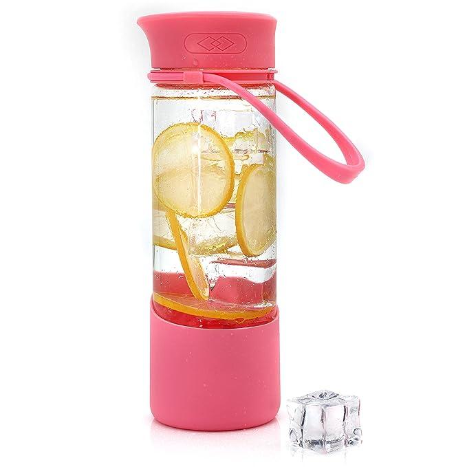 Bonison Secreto cara sonriente taza Happy Motivational potable vidrio de borosilicato botella de agua con funda de silicona asa y tornillo de rosca - 17 oz ...