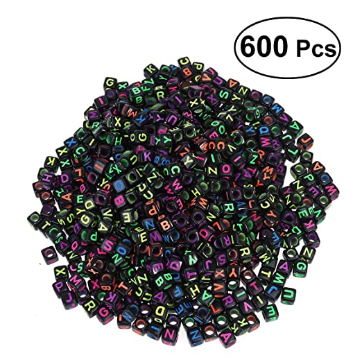 negro 600/piezas ultnice 6/mm ALFABETO carta cubo acr/ílico cuentas para pulseras abrazaderas creaci/ón de joyas