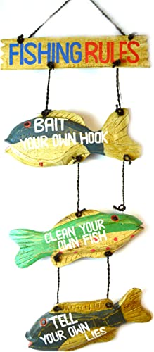 LG Hand Carved FISHING RULES SIGN Wooden Nautical Trout Bass Mauhi Perch