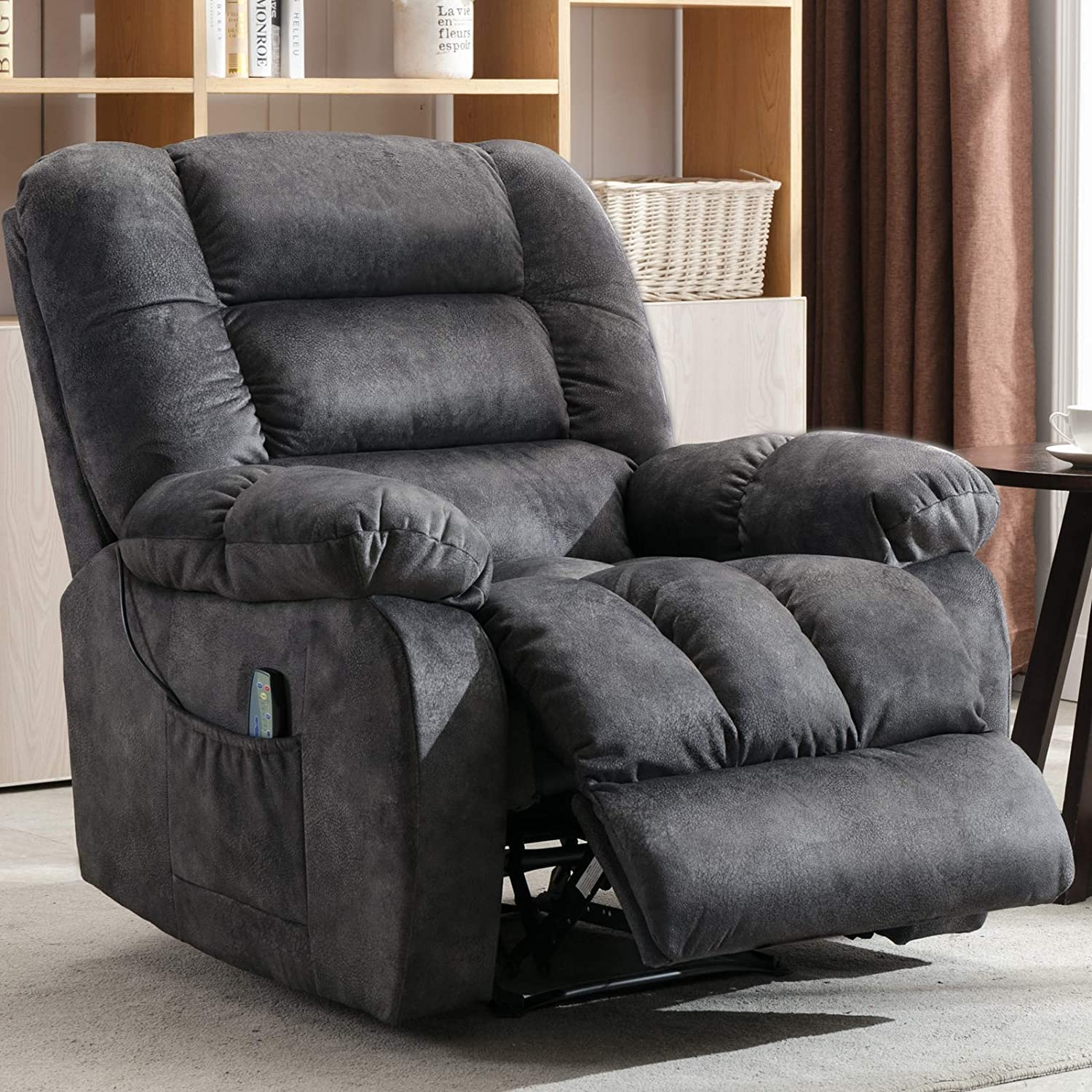 ANJ HOME Manual Massage Recliner Chair with Heat and Vibration, Lounge Chair with Thickness Armrest and Backrest R0504 (Gray)