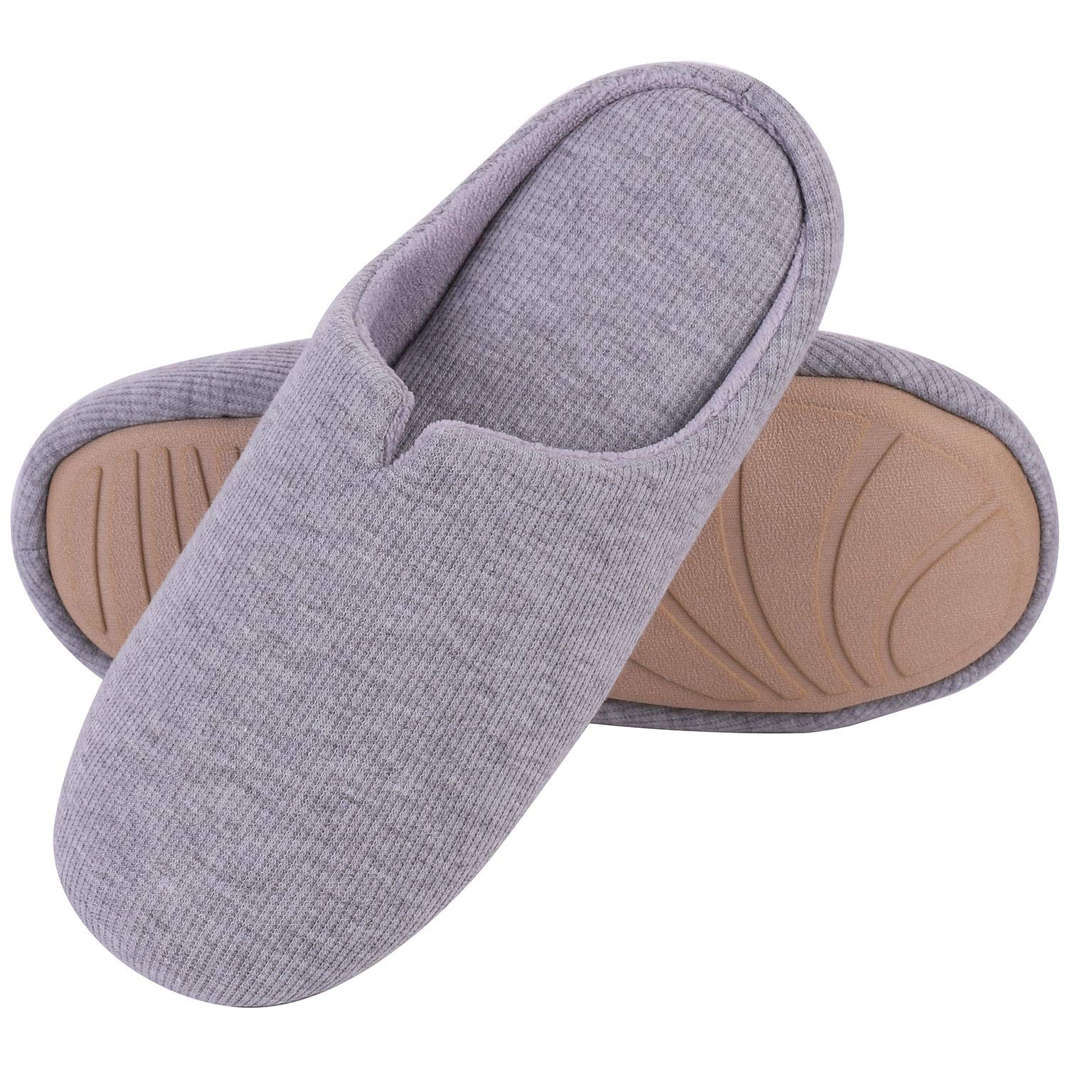 f67380a3d87c4 Men's & Women's Comfort Cotton Knit Memory Foam Slippers Light Weight Terry  Cloth House Shoes Anti-Skid Rubber Sole