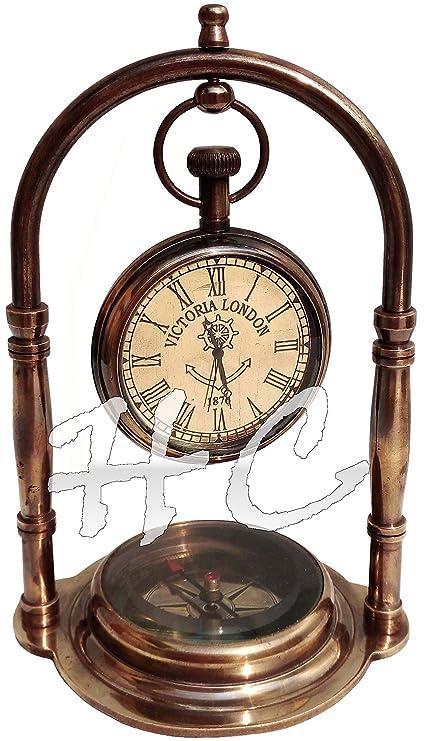 Nautical Clock Ship Table Clock Brass Desk Clock Maritime Brass Compass  with Antique Victoria London Pocket - Amazon.com: Nautical Clock Ship Table Clock Brass Desk Clock