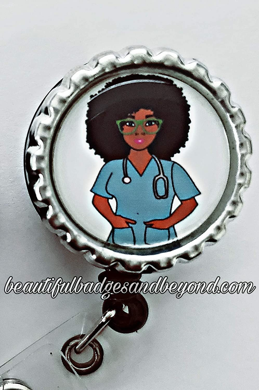 Black Nurse Retractable Badge Holder
