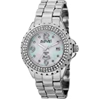 August Steiner Women's Crystal Bezel Fashion Watch - White Mother of Pearl Diamond Dial with Big Number Hour Markers…