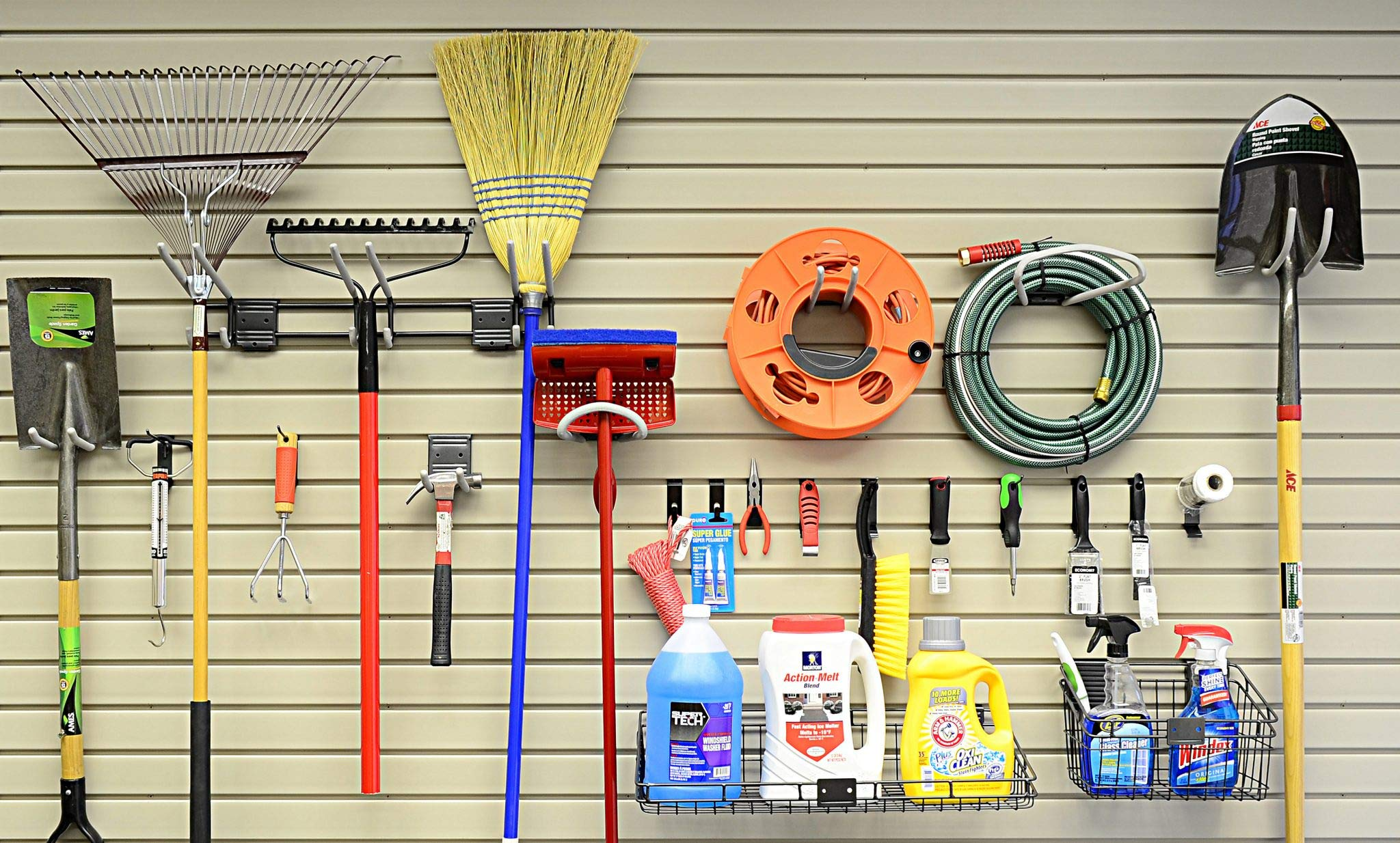 HandiWall Locking Hook Basic Accessory Kit With 21 Locking Hooks, Baskets, and Shelves for Garage Slatwall Panels by HandiSolutions