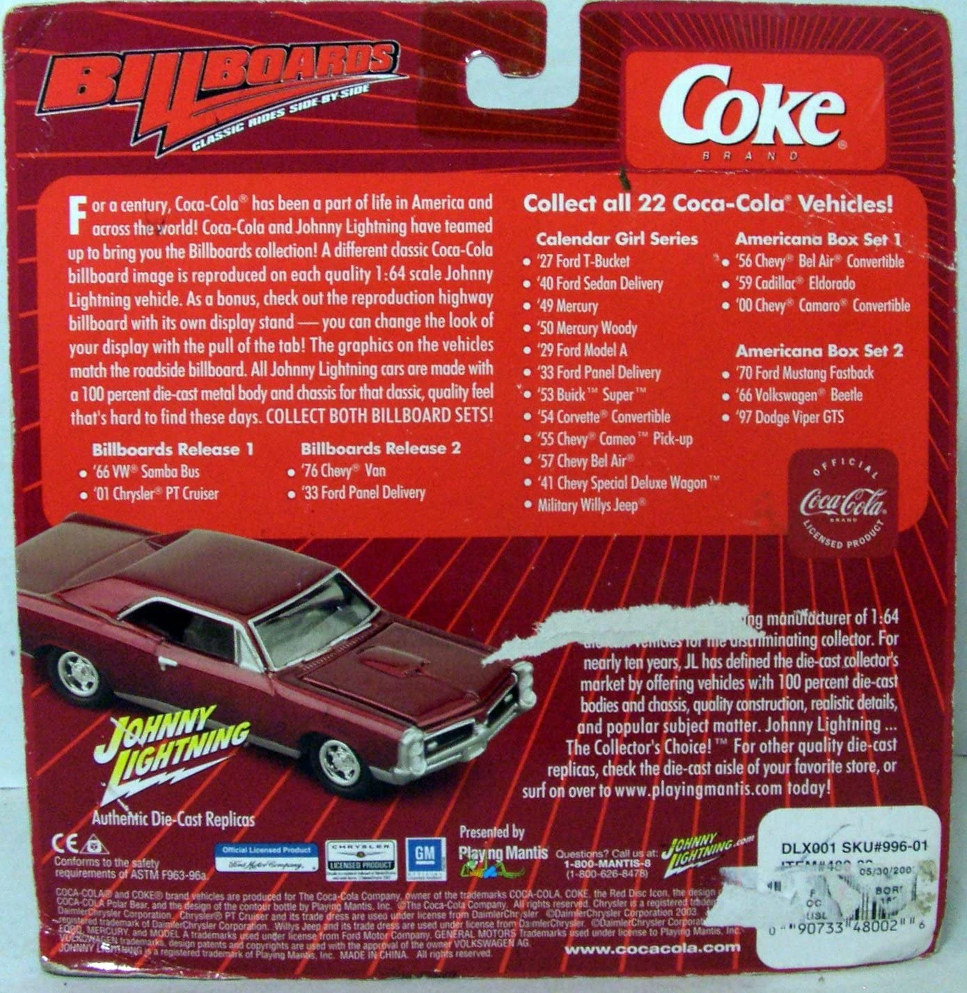 JOHNNY LIGHTNING 1:24 SCALE DIE CAST COCA COLA 1957 FORD PANEL DELIVERY CAR B