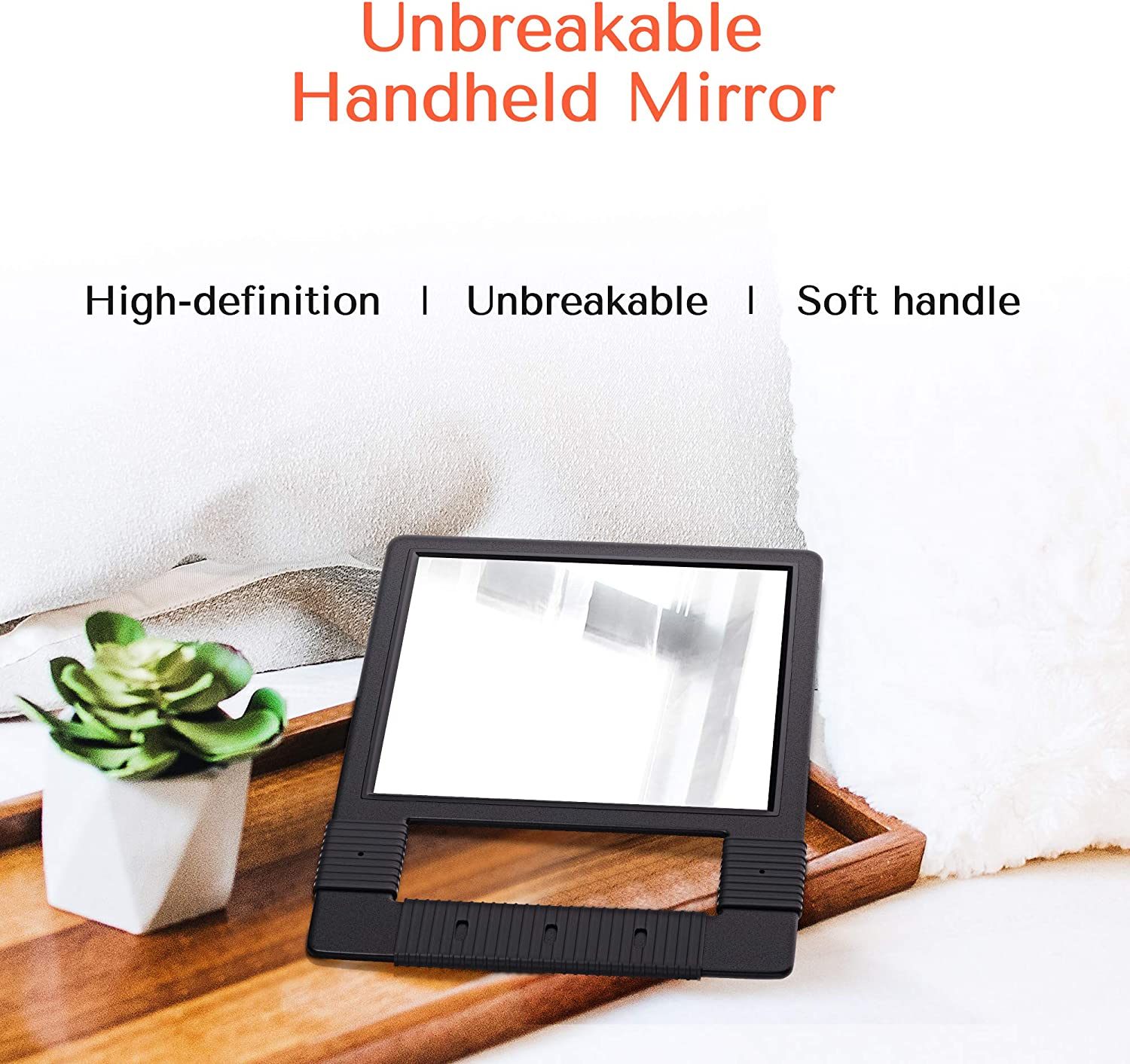 TASALON Hand Mirrors with Handle - Unbreakable Hand Mirror - Unbreakable Handheld Mirror with Silicone Handle for Barber Mirror, Salon Mirror, Makeup Mirror or Shower Mirror, Hand Held Mirror - Black: Kitchen & Dining