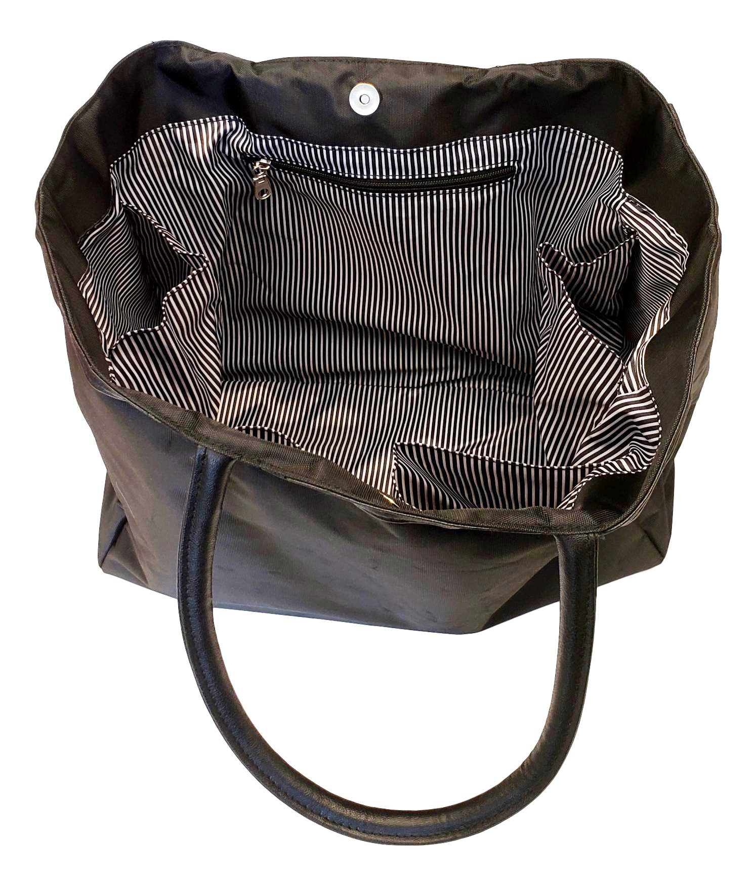 Large Black Organizing Travel Companion Purse Handbag Bag (No Embroidery - Black) by Sona G Designs (Image #5)