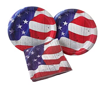 4th of July Vintage American Flag Party Bundle Includes Paper Plates and Napkins for 16 Guests  sc 1 st  Amazon.com & Amazon.com: 4th of July Vintage American Flag Party Bundle Includes ...