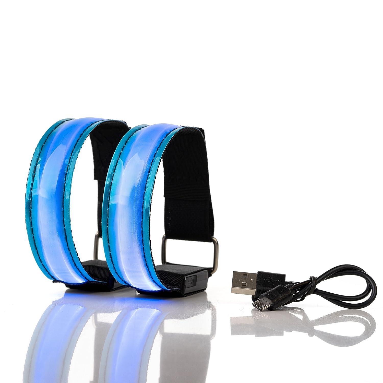 Actinetics Aufladbares LED Armband, Leuchtband für Joggen, Laufen – Sicherheitslicht, Reflektor und Blinklicht für Kinder – Blinkende und statische LED-Funktionen, USB aufladbar (2 Stück) ARDIX Trade