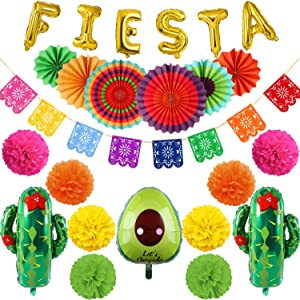 31PCS Fiesta Party Decorations , Multi-color Hanging Paper Fans, Foil Fiesta Cactus and Avocado Balloons, Pom Poms Flowers, Mexican Banner for Birthday Parties, Wedding Decor, Mexican Party