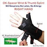 IRUFA,TB-OS-38, 3D Breathable Fabric RSI Wrist Thumb Spica Splint for Carpal Tunnel Syndrome, BlackBerry Thumb, Trigger Finger, Mommy Thumb Brace, Sprains, Arthritis and Tendinitis (Right Hand)