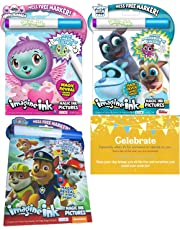 Bundle of 3 Imagine Ink Magic Pictures Activity Books - Puppy Dogs, Paw Patrol and Hatchimals - with a Celebrate Post Card