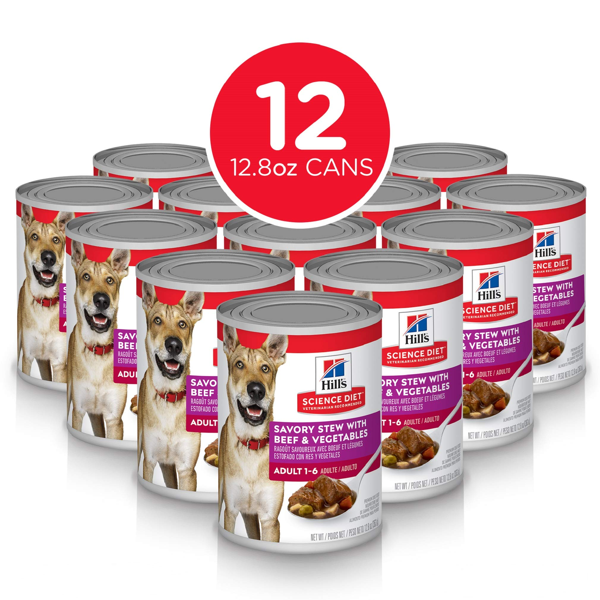 Hill's Science Diet Wet Dog Food, Adult, Savory Stew with Beef & Vegetables, 12.8 oz, 12-pack by Hill's Science Diet