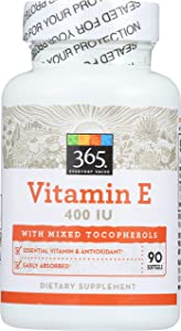 365 Everyday Value, Vitamin E 400IU with Mixed Tocopherols, 90 ct