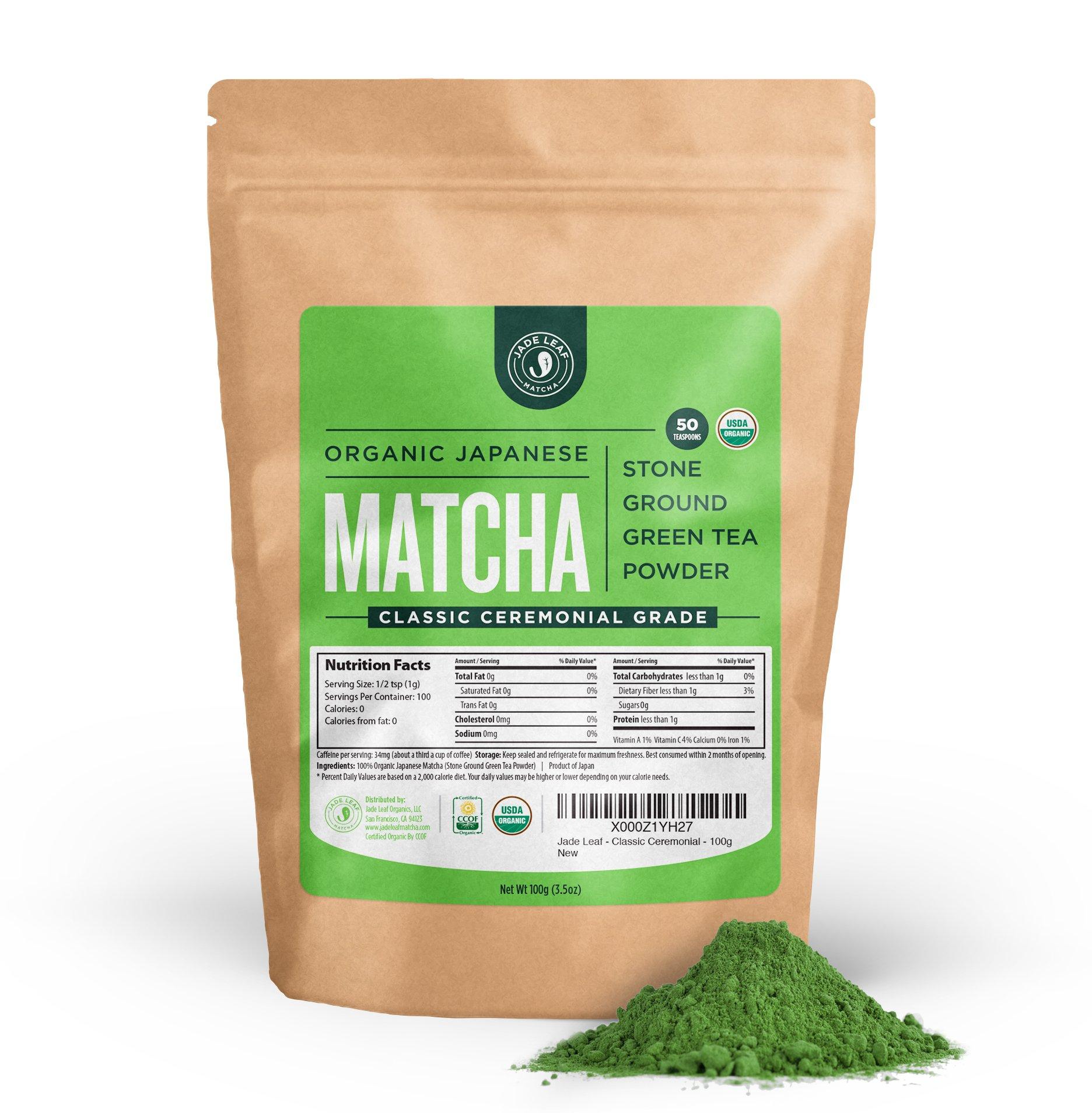 Jade Leaf Matcha Green Tea Powder - USDA Organic - Ceremonial Grade (For Sipping as Tea) - Authentic Japanese Origin - Antioxidants, Energy [100g Value Size]