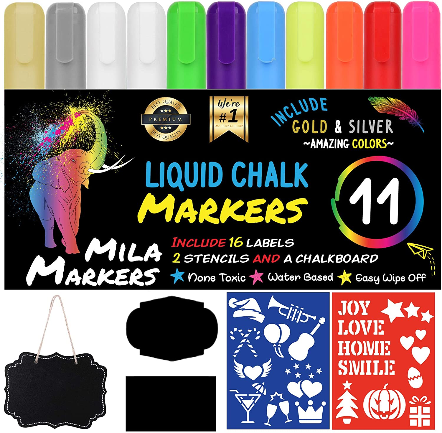 Chalk Markers by Mila Markers, Pack of 11 + A Chalkboard + Christmas Drawing Stencils + 16 Labels, Premium Liquid Chalkboard Neon Pens, Including Gold, Silver and Extra White Ink, 6mm Tips : Office Products