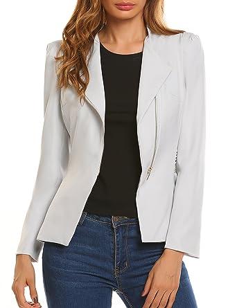 2a1b721104 Zeagoo Women's Long Sleeve Zipper Blazer Jacket Coat, Light Grey, X-Large