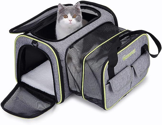 DADYPET 44.5 * 33 * 28CM Transportin Gato, Transportin Perro Pequeño Mascotas Cómodo Bolso para Transporte en Tren, Coche, Avión Mediano (Gris)