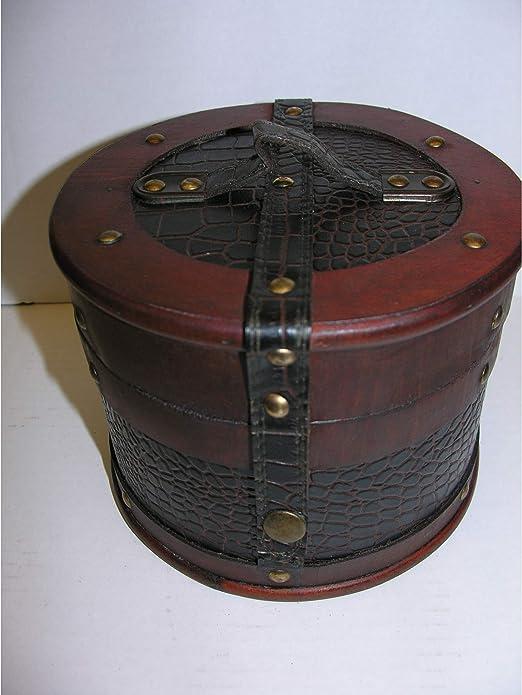 Gr Palazzo24 – Sombrero Maletín Redonda 23 cm Madera Piel Sombrerera Antiguo Estilo de Baúl: Amazon.es: Jardín