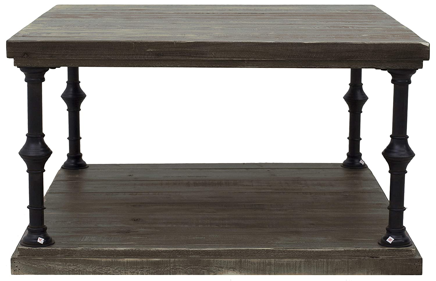 Distressed Wood 15.7H AMZ-B3-01B Ravenna Home Jessica Rustic Open Storage Large Side Table 15.7H