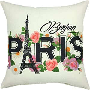 YOUR SMILE-Paris Eiffel Tower Cotton Linen Square Cushion Covers Throw Pillow Covers Decorative 18 x 18 (A01)