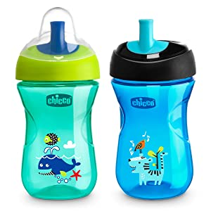 Chicco First Straw Trainer Spill Free Semi-Firm Straw Spout Baby Sippy Cup, 9 Months, Teal/Blue, 9 Ounce (Pack of 2)