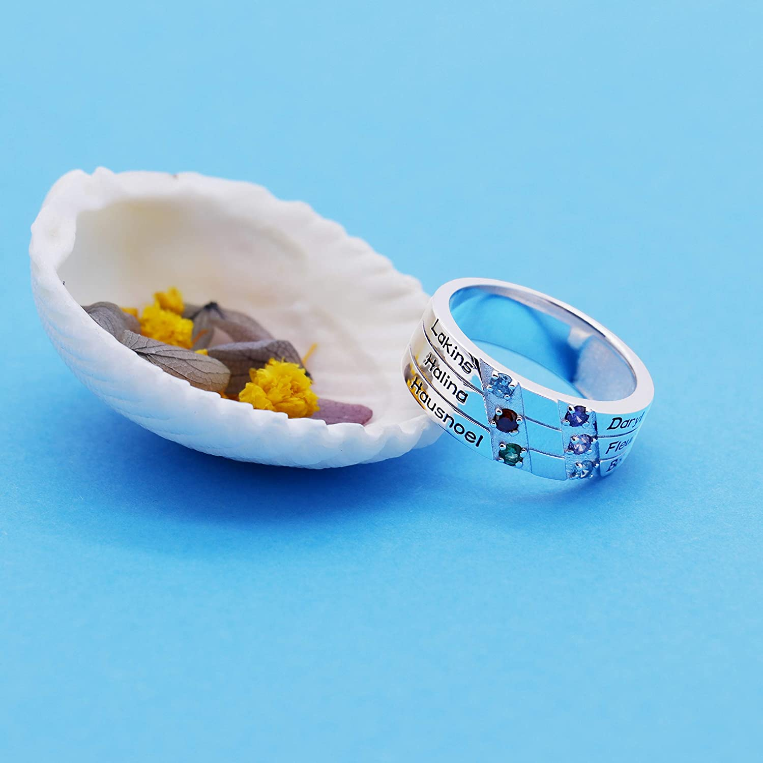 Mothers Ring Engraved Simulated Birthstone Ring 6 Stone Ring 925 Sterling Silver Personalized /& Custom Made