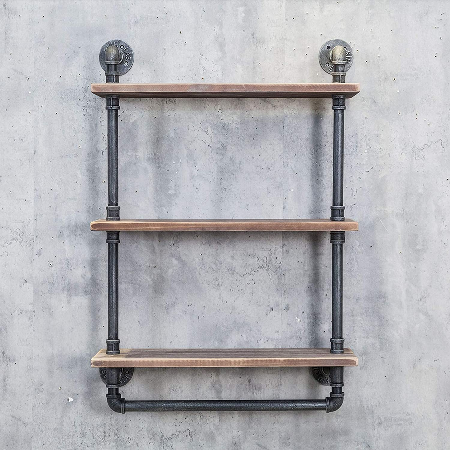 Mdepyco Industrial Pipe Bathroom Shelves Rustic 20in Wood Shelf With Towel Bar Farmhouse Towel Rack Metal Floating Shelving Towel Holder Wall Mounted 3 Tier Iron Distressed Shelf Over Toilet Amazon Co Uk Kitchen Home