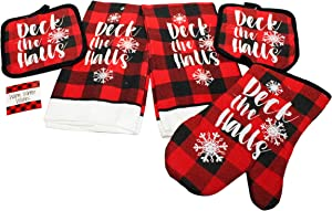 6 pc Buffalo Plaid Kitchen Towels Set w/ Pot Holders, Oven Mitt, Kitchen Magnet Christmas Kitchen Towels, Decor - Comes in an organza bag so it's ready for giving! (Deck The Halls)