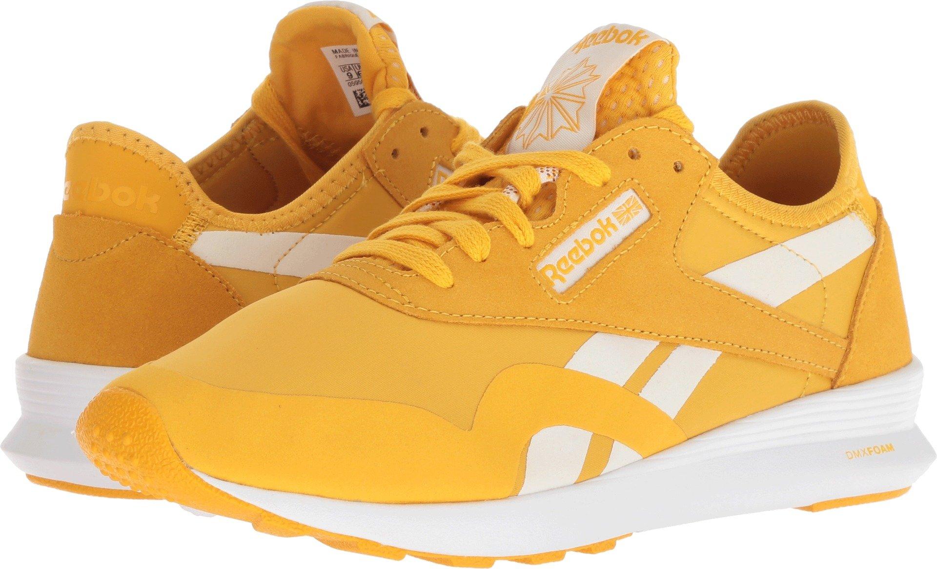Reebok Women's Classic Nylon SP Walking Shoe, OG Blocking-Fierce Gold/Chalk/White, 7.5 M US