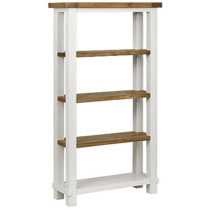 Stone Beam Barrett Reclaimed Wood 4 Shelf Bookcase 40 W White Sandstone